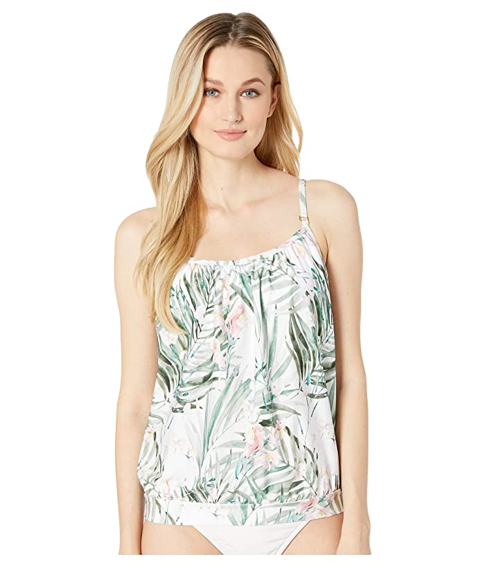 Athena Painted Nature Blouson Tankini with Removable Soft Cups (Multi) Women