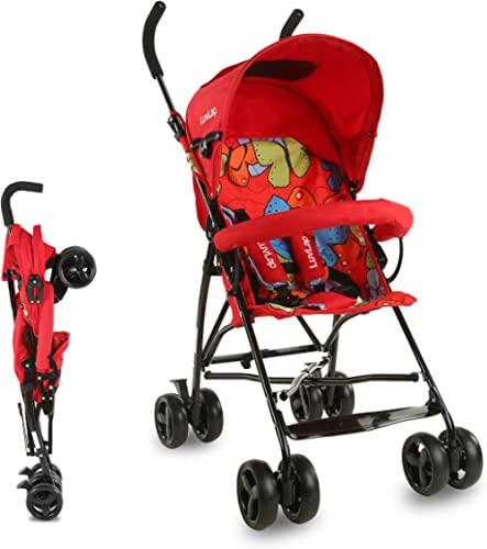 LuvLap Tutti Frutti Stroller/Buggy, Compact & Travel Friendly, for Baby/Kids, 6-36 Months (Red)