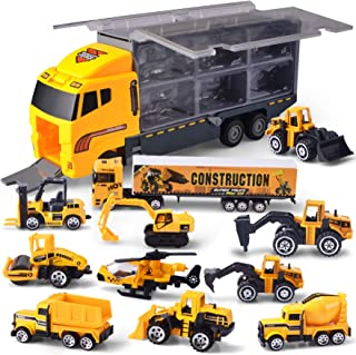 JOYIN 11 in 1 Die-cast Construction Truck Vehicle Car Toy Set Play Vehicles in Carrier..