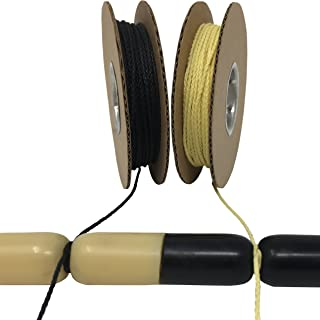200lb 100% Dupont Black or Yellow Kevlar Speargun Band Constrictor Cord, Low Stretch, Great Knot Retention (model rocket paracord heat tolerant up to 900 f, survival/tactical, high strength to weight)