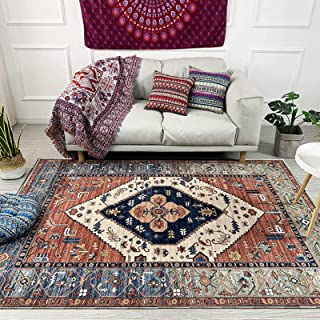 Traditional Vintage Style with Floral Area Rugs Carpet, Red, Easy to Clean Soft Living Dining Room (160 x 230cm)