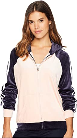Track Lightweight Velour Color Block Stripe Hoodie