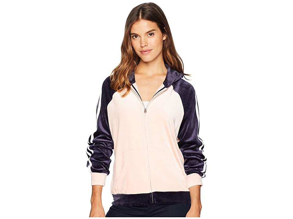 Juicy Couture Track Lightweight Velour Color Block Stripe Hoodie (Regal/Morning Blush/White) Women