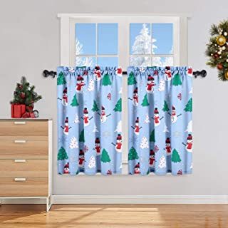 Haperlare Cafe Curtains 36 Inch, Christmas Snowman Printed Rod Pocket Short Window Curtains, Multicolor Xmas Tree and Snowflake PrintKitchen Window Curtain Sets for Bathroom, 27