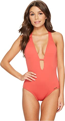 Vince Camuto Riviera Solids Plunging V-Neck One-Piece Swimsuit w/ Removable Soft Cups