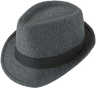 Unisex Classic 20s Manhattan Cotton Twill Herringbone Trilby Fedora Hat with Band Casual Jazz Wool Cap