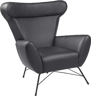 Marque Amazon - Movian Galga - Chaise d'appoint, 90x105x98cm (longueurxlargeurxhauteur), Finition cuir refendu, Noir
