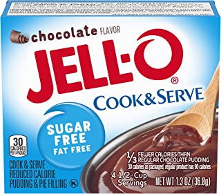 JELL-O Chocolate Sugar Free Cook & Serve Pudding & Pie Filling Mix (1.3 oz Boxes, Pack of 6)