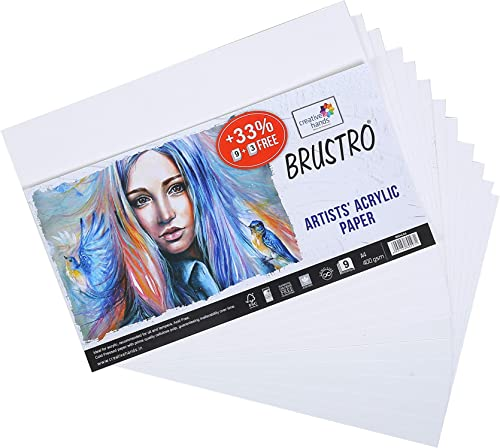 Brustro Artists' Acrylic Paper 400 GSM A4 (Pack of 9 + 3 Free Sheets)