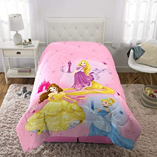 "Disney Princess Kids Bedding Soft Microfiber Reversible Comforter Twin/Full Size 72"" x 86"" Pink/Purple"