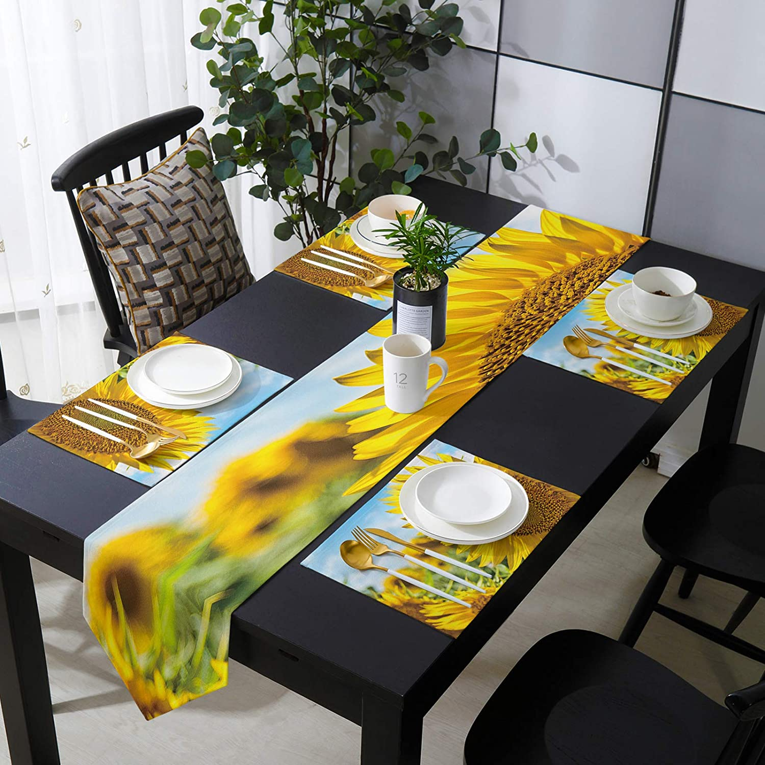 Fangship Placemats Free shipping on posting reviews with Table Runner Sunflo Set Ranking integrated 1st place Dining for
