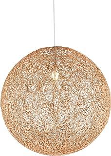 Lámpara colgante grande de papel trenzado de 1 foco, lámpara colgante para dormitorio, lámpara de salón, 44 cm, altura 130 cm, color marrón