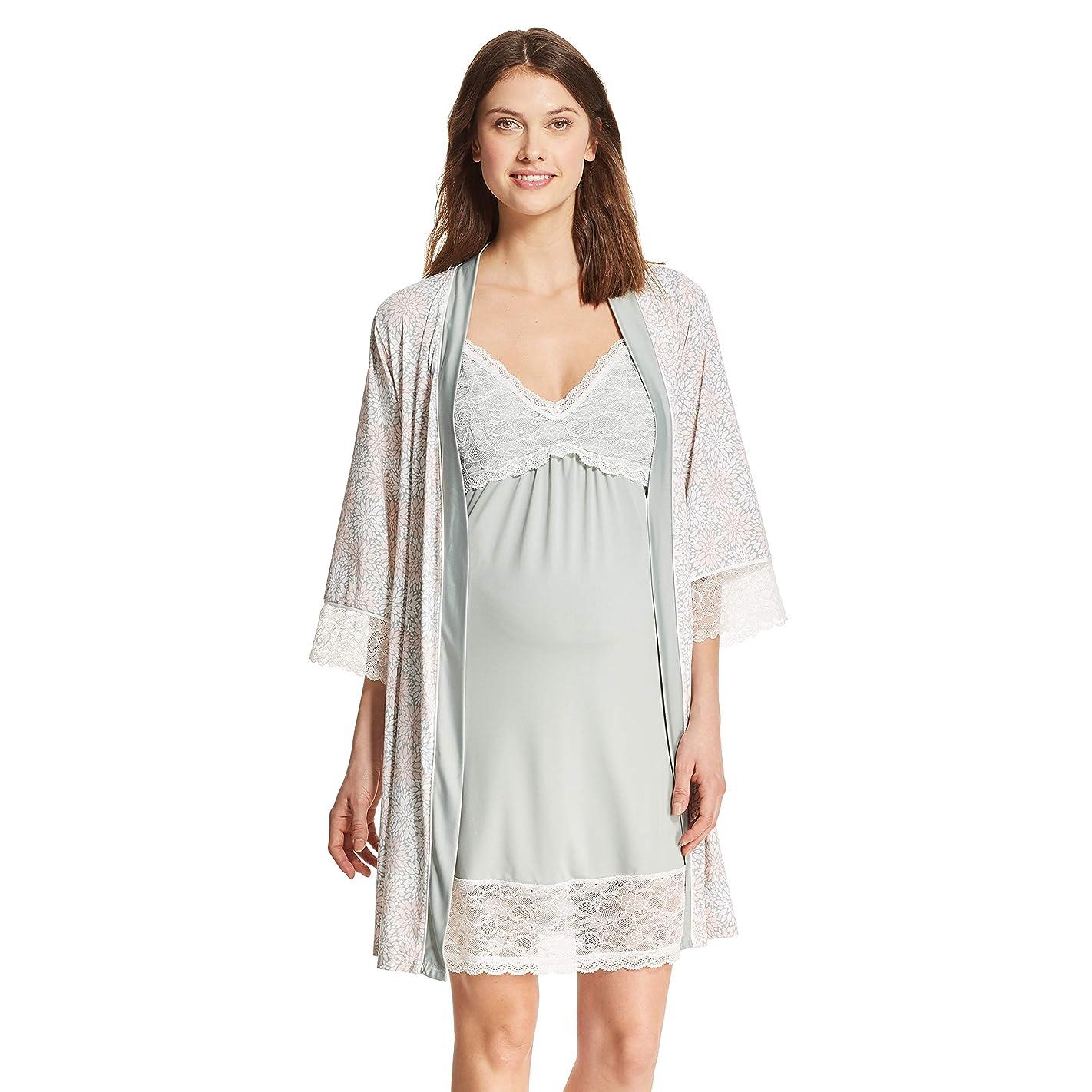 Nanette Lepore Womens?Maternity 2 Piece Nursing Nightgown and Robe Pajama Lounge Set s33336818155