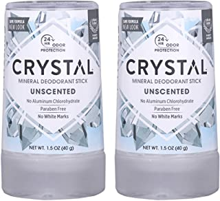 CRYSTAL Travel Stick Mineral Deodorant - Unscented Body Deodorant With 24-Hour Odor Protection, Non-Staining & Non-Sticky,...