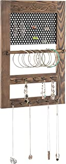 MyGift Rustic Dark Brown Wood & Metal Carved Scrollwork Jewelry Organizer