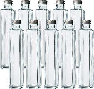 ハーバリウム、ドレッシング、タレ、オイルで使えるガラス瓶・透明瓶・角瓶SSE-200A -10本セット - (ふた)アルミCAP