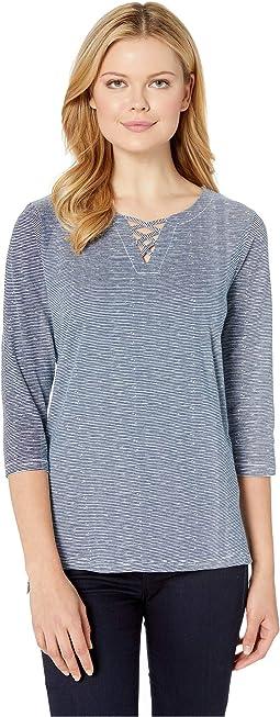 Printed Jersey Fine Line Stripe Lace-Up Neckline Top