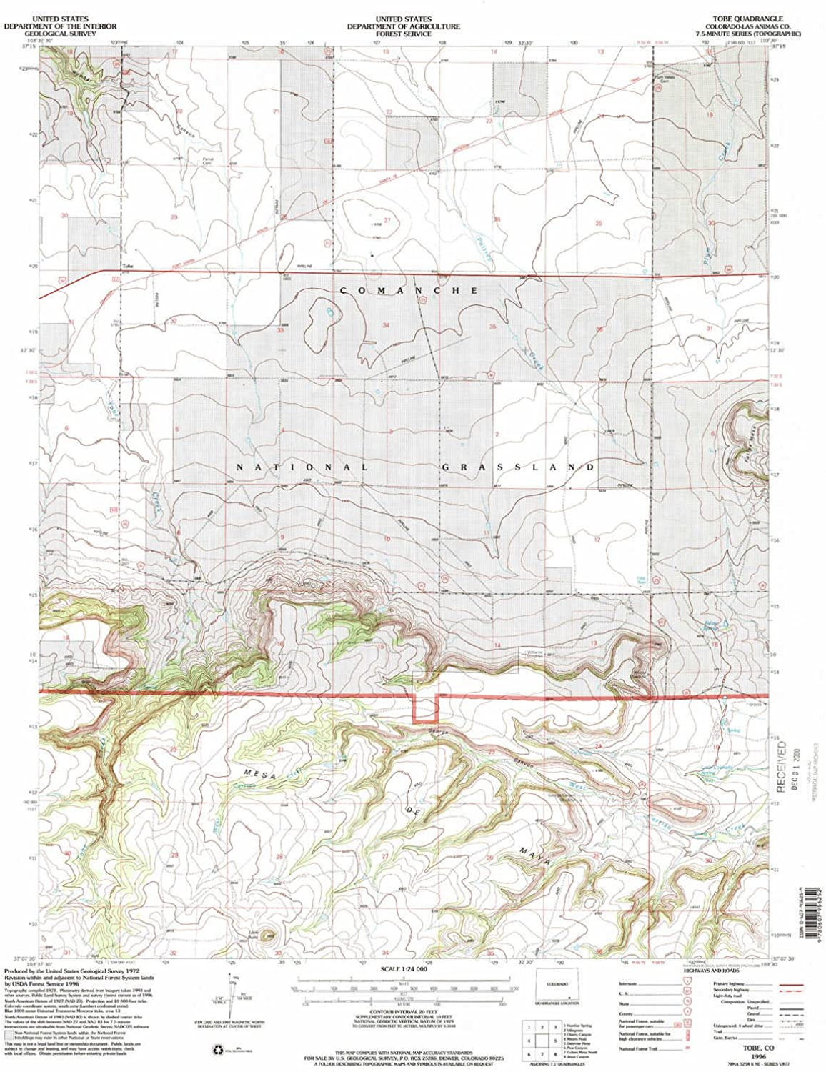 Tobe CO topo map, 1 24000 Scale, 7.5 X 7.5 Minute, Historical, 1996, Updated 2000, 26.8 x 22.1 in