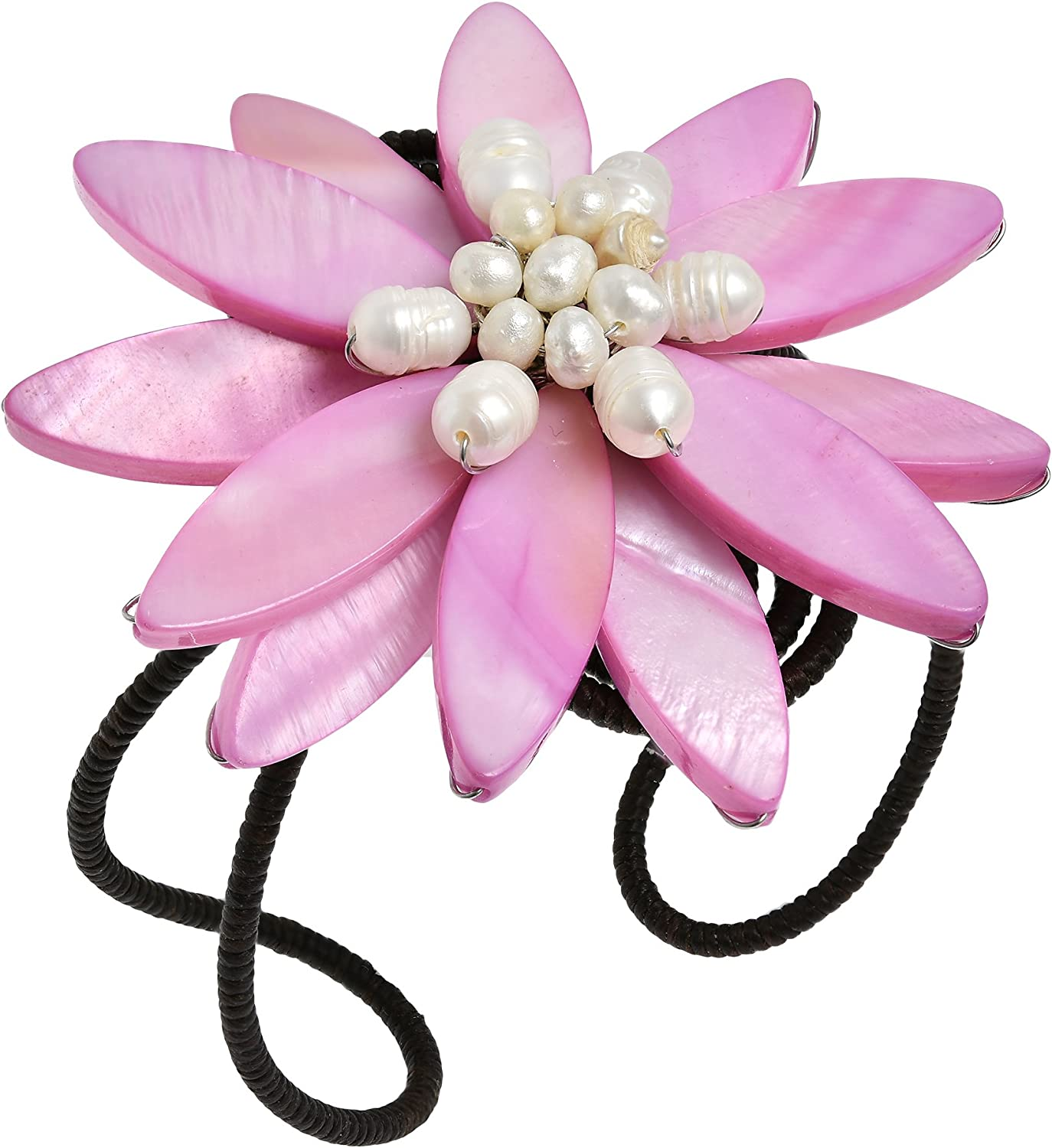 Stylish Pink Mother of Pearl Flower with Cultured Freshwater Pearl Center Stone Cuff