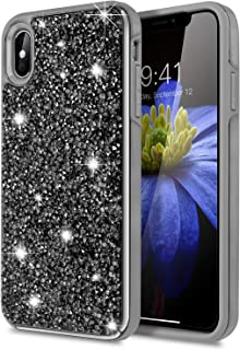 iPhone Xs Max Case,WATACHE Luxury Glitter Sparkle Bling Sturdy Diamond Rugged Back Heavy Duty Hybrid Dual Layer High Impact Protective Cover for Apple iPhone Xs Max (6.5