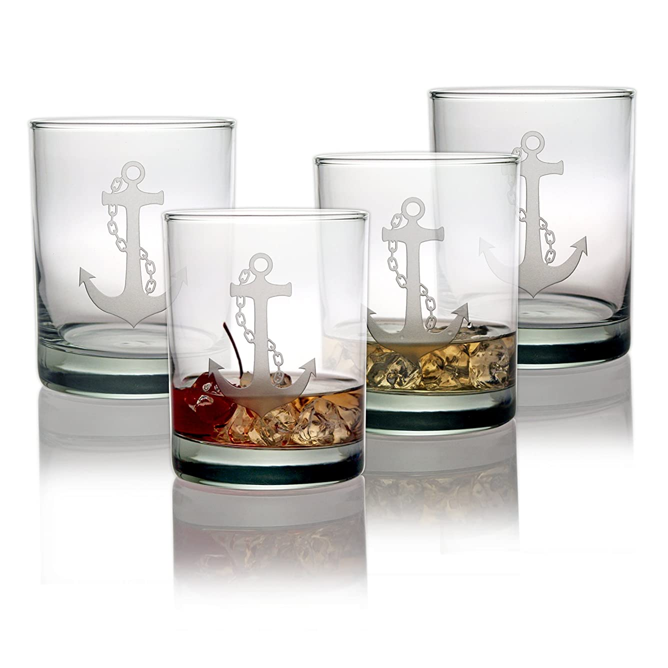 泥棒不実プレートSusquehanna Glass Anchor Double Old Fashioned Glasses, Set of 4