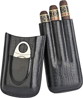 Mantello 3-Finger Black Genuine Leather Cigar Case with Stainless Steel Cutter
