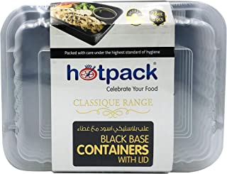 Soft N Cool, Hotpack - 5 Pieces Black Base Rectangular Microwavable Container With Lids 28 Ounce, PLASTIC, HSMBB8366