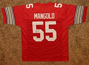 Nick Mangold Autographed Signed Ohio State Buckeyes Jersey (Size XL) Beckett BAS COA Autographed Signed