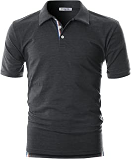 OHOO Mens Slim Fit Short Sleeve Plain Polo Shirt in Pure Cotton