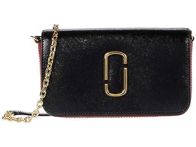 Marc Jacobs Snapshot Crossbody w/ Chain (Black/Red) Cross Body Handbags