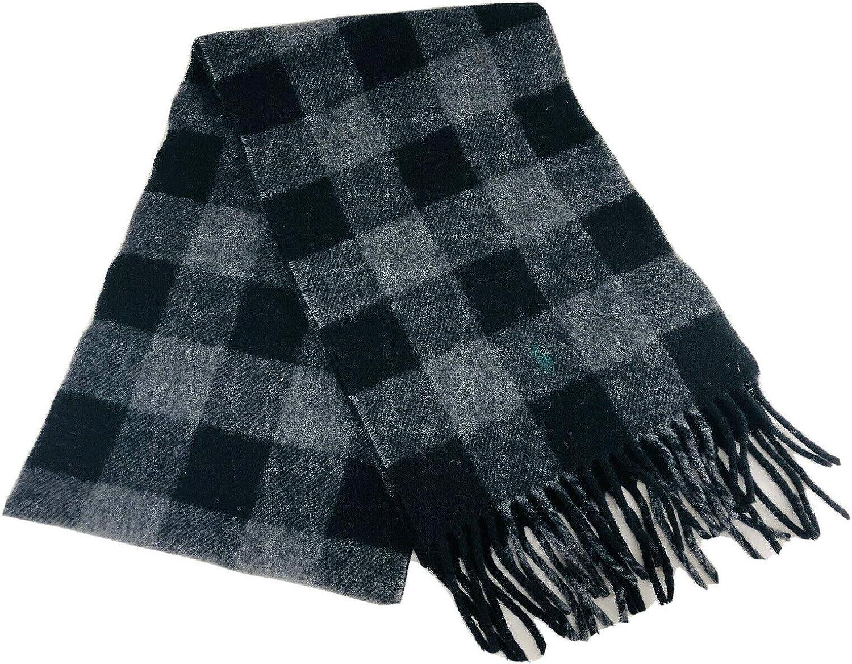Polo Ralph Lauren Men's Reversible Charcoal and Black Italian Wool Blend Scarf