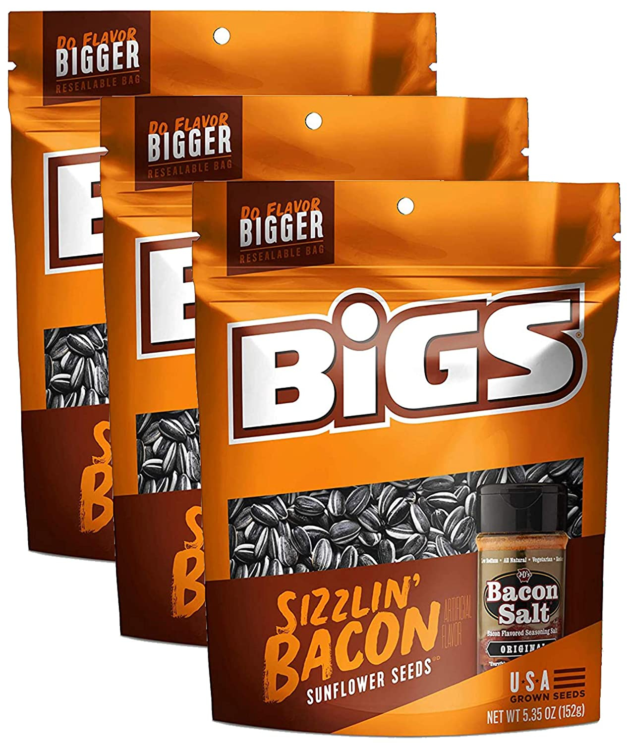 Bigs Bacon Salt Now on sale Sizzling Sunflower Pack Seed 5.35-Ounce Atlanta Mall 3