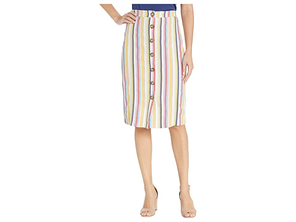 eci Color Striped Button Down A-Line Skirt (Lilac/Blue) Women