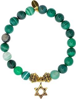 EvaDane Natural Green Stripe Jade Gemstone Rope Bead Star of David Charm Stretch Bracelet