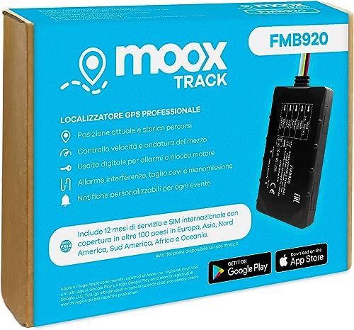 MOOX Track Localizzatore Gps per Auto, Moto, Camion, Barca - App Facile da Usare, Posizione in Tempo Reale, Allarmi d...