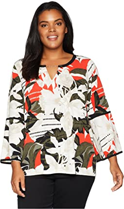 Plus Size Printed Long Sleeve w/ Piping & Hardware
