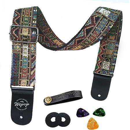 Correa de guitarra Vintage estilo tejida ajustable guitarra eléctrica acústica Bass Correa con extremos de cuero, Bundle para guitarra, Plectrums for guitar, Botón