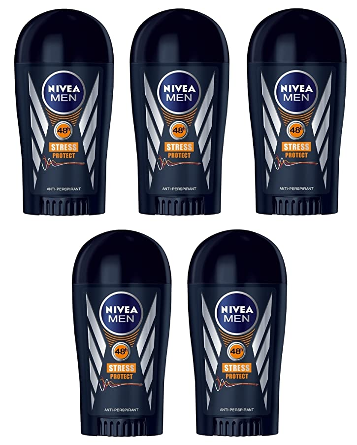 持参すすり泣き太陽(Pack of 5) Nivea Stress Protect Anti-perspirant Deodorant Solid Stick for Men 5x40ml - (5パック) ニベア応力プロテクト制汗剤デオドラントスティック男性用5x40ml