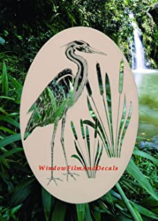 Oval Egret & Cattails Left Etched Window Decal Vinyl Glass Cling - 21