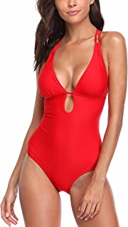 Womens Lace Up Back One Piece Bathing Suit Deep Plunge Padded Swimsuit