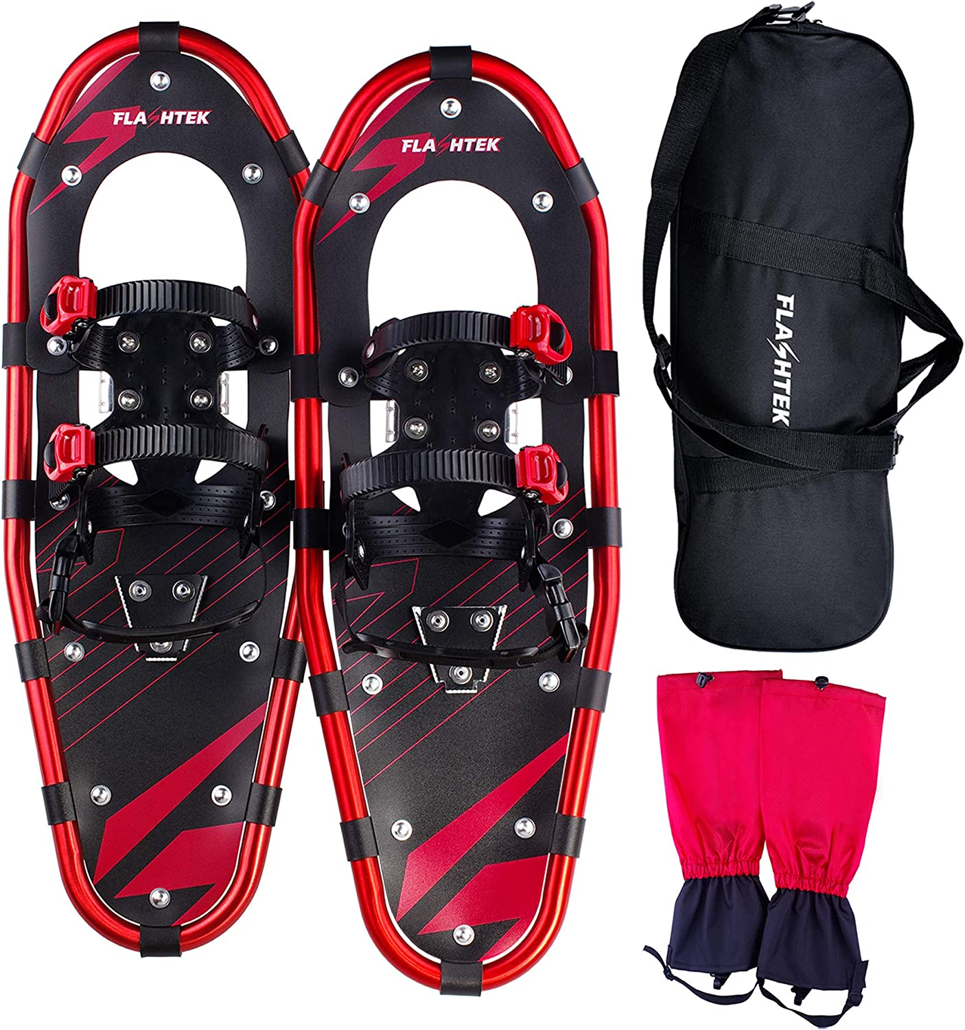 FLASHTEK 21  Snowshoes for Men and Women, Light Weight Aluminum Terrain Snowshoes + Free Carrying Tote Bag + Gaiters (Red)