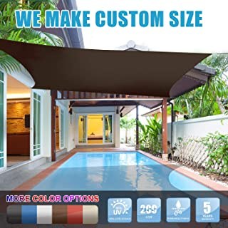 Amgo 12' x 16' Brown Rectangle Sun Shade Sail Canopy Awning, 95% UV Blockage, Water & Air Permeable, Commercial and Residential, for Patio Yard Pergola, 5 Years Warranty (Available for Custom Sizes)