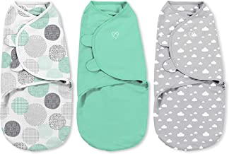 SwaddleMe Original Swaddle 3-PK, 100% Cotton Adjustable Baby Wrap, Floating Geo, Small (0-3 Months, 7-14 lbs, up to 26)