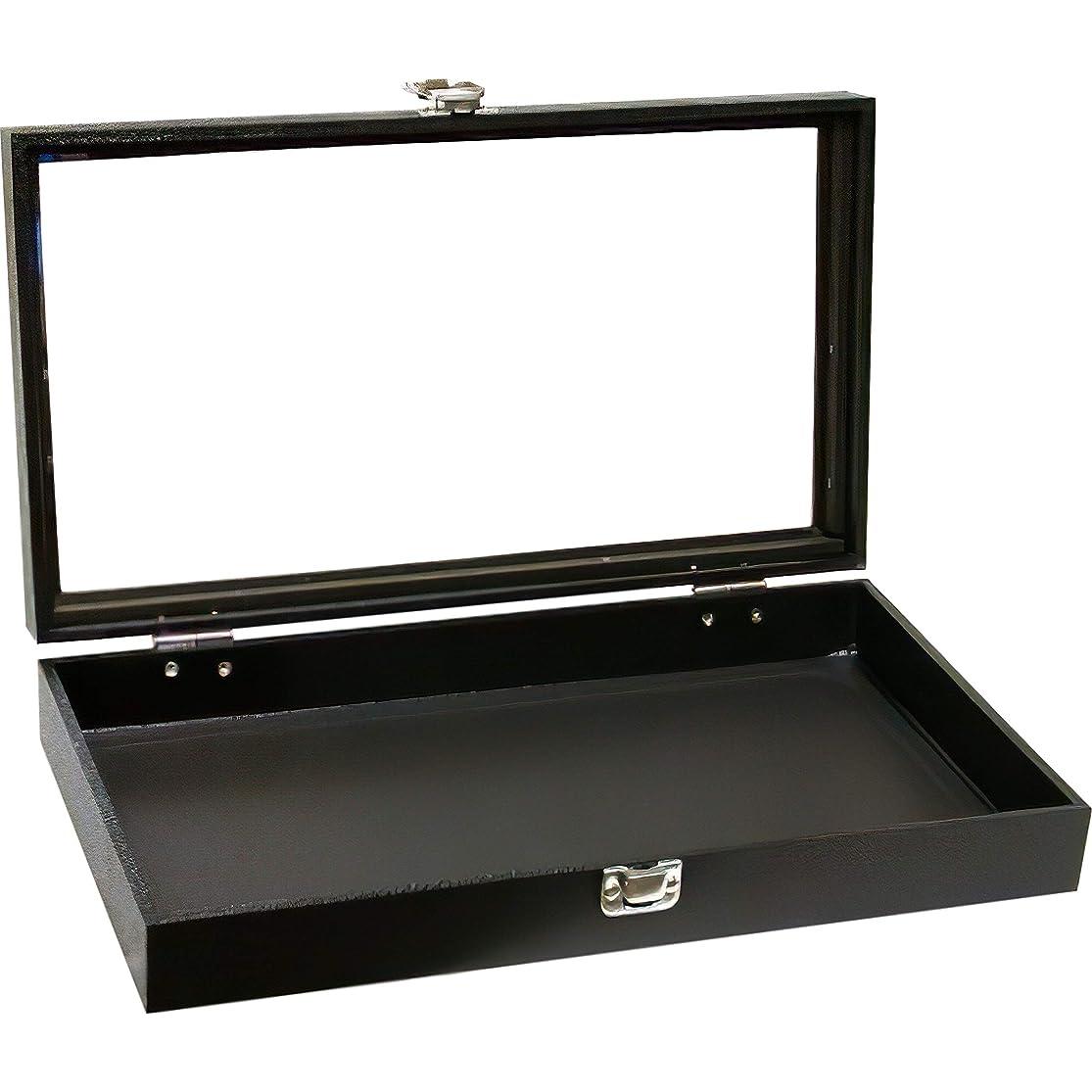 FindingKing Black Jewelry Travel Showcase Display Glass Lid Case kremgcdd1