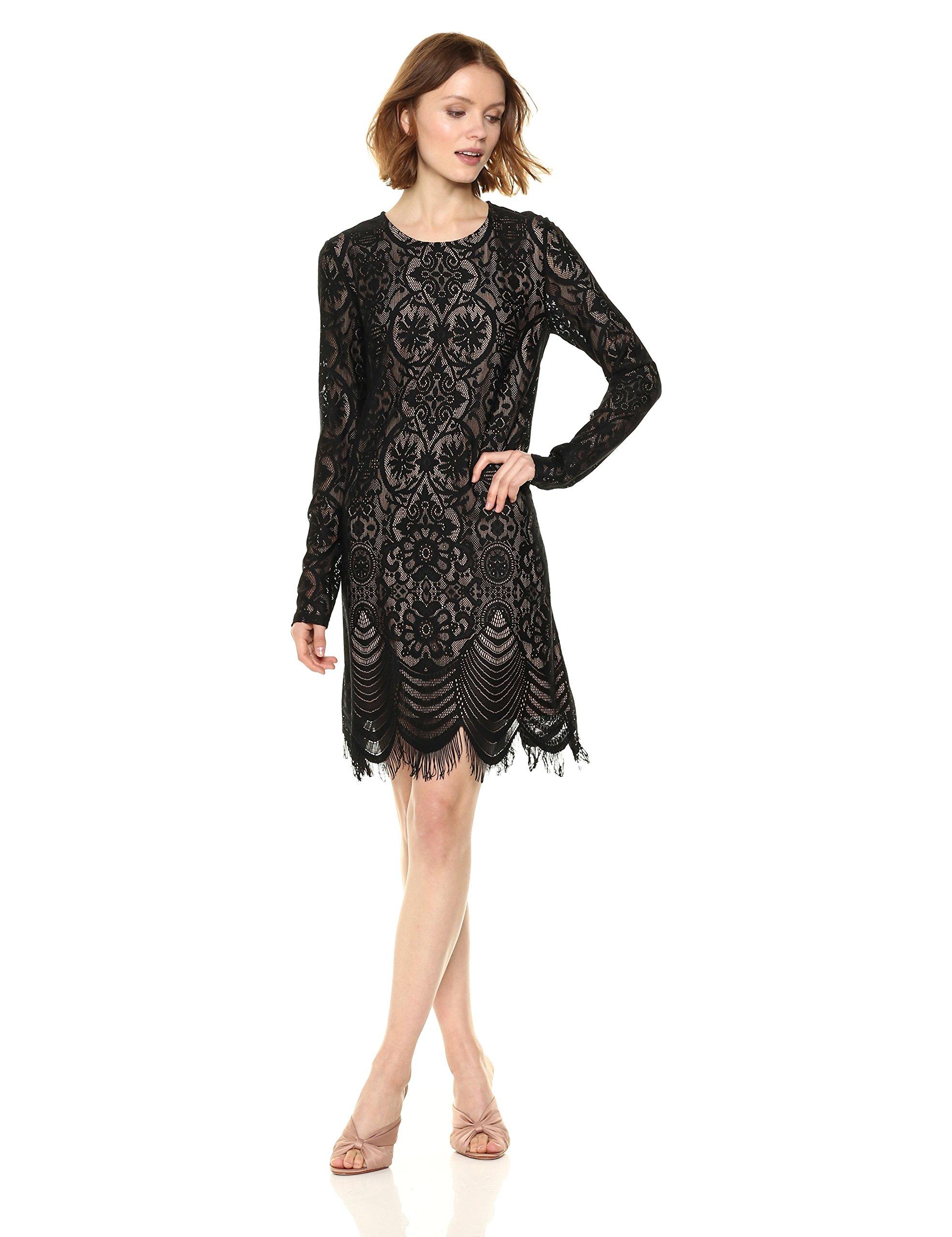 BCBGMax Azria Women's Marae Knit Lace and Illusion Dress