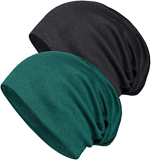 2 Pack Cotton Slouchy Beanie Hats, Chemo Headwear Caps for Women and Men