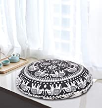 "32"" Elephant Mandala Black Floor Pillow Meditation Bohemian Cushion Seating Throw.."