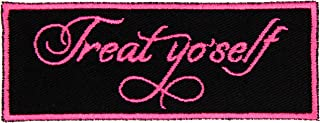 Treat Yo Self Treat Yourself Patch Iron On Applique - Black, Hot Pink, 4