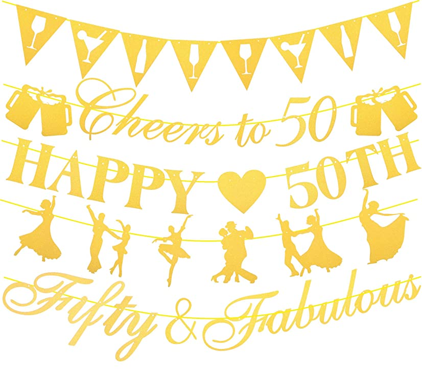 MEANT2TOBE 50th Birthday Decorations Party Supplies | 50th Birthday Decorations | Pack of Unique 5 Banners - 'Happy 50TH' - ' Cheers to 50 Years - 'Fifty & Fabulous' and 2 Banners with Funky Shapes