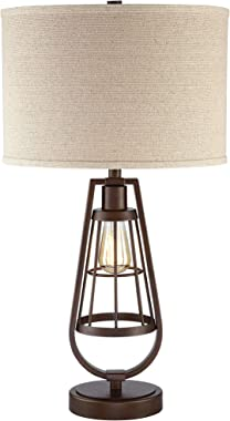 Topher Rustic Industrial Table Lamp with Nightlight LED Edison Brown Metal Burlap Drum Shade for Living Room Bedroom Bedside Nightstand Office Family - Franklin Iron Works